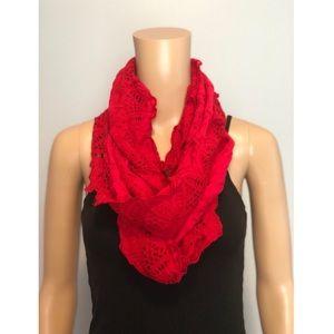Anthropologie Floreat red eyelet circle scarf